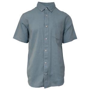 Vans-Off-The-Wall-Men-039-s-Adriatic-Blue-Mini-Hex-B-S-S-Woven-Shirt-Retail-42