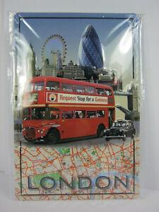 Blechschild-London-Tower-Bridge-Big-Ben-Eye-30-cm-NEU-Metal-shield-Nostalgie
