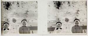 Bambini E Madre Foto Placca Da Lente Stereo Negativo Vintage LG15