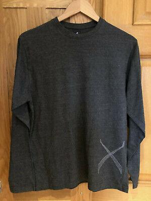 1 Come Nessun Altro Intorno Al Collo Slim Fit Grigio Scuro A Maniche Lunghe T Shirt-mostra Il Titolo Originale