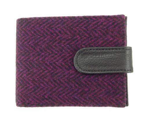 COL 67 Authentic Harris Tweed Gents Coin Wallet Purple Herringbone LB2105