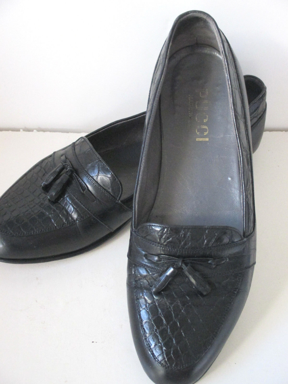 Pucci Men's Shoes Loafer 10.5M Black Leather Faux Alligator