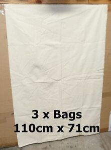 3-x-Military-XXL-Army-Surplus-Cotton-Calico-Unbleached-Bag-Sacks-Carry-All