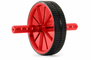 ProsourceFit Dual Ab Wheel Roller Abdominal Workout Muscle Exercise Gym Abs Red
