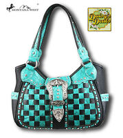 Montana West Checked Buckle Concealed Handgun Shoulder Handbag