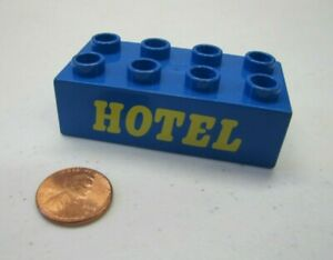 Lego Duplo BLUE HOTEL SIGN Specialty Printed Brick Block for House Town