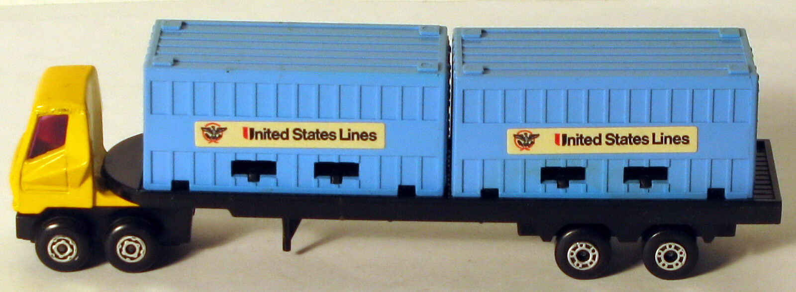 DTE LESNEY MATCHBOX CONVOY PS-1 YELLOW YELLOW YELLOW CAB blueE U.S. LINES DOUBLE CONTAINER TRK 4afb36
