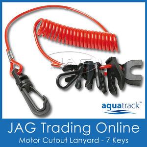 JET SKI RED SAFETY LANYARD & CLIPS- Boat/Outboard/OMC/Merc/PWC/Yamaha Waverunner