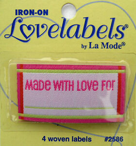 Details about MADE WITH LOVE FOR Woven Labels (Qty-4) Iron-On/Sew-In PINK