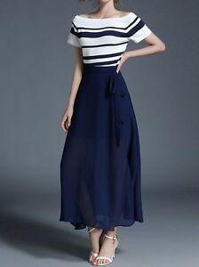 rivenditore online 13c7a e3c94 Dettagli su Elegante raffinato completo donna gonna lunga blu bianco manica  maglia 3781