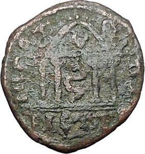 GETA-198AD-Nicopolis-ad-Istrum-Four-Column-Temple-Serpent-Roman-Coin-i48871