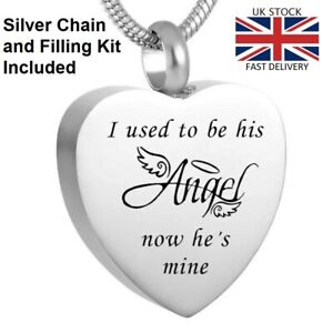 Angel-Now-He-039-s-Mine-Urn-Pendant-Ashes-Necklace-Funeral-Memorial-Jewellery-UK