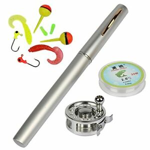 Mini Pocket Fishing Rod and Reel Combos Fly Reel Telescopic Pen Silver