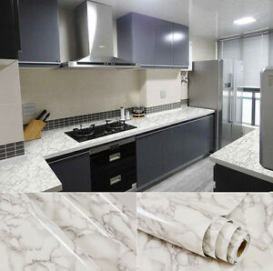 Stick On Countertop White Grey Faux Marble Granite Film