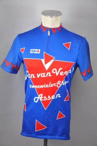 Roue Maillot JAN VAN VEEN ASSEN Cycle Jersey Vélo Bike Vintage Taille M 52 cm b6