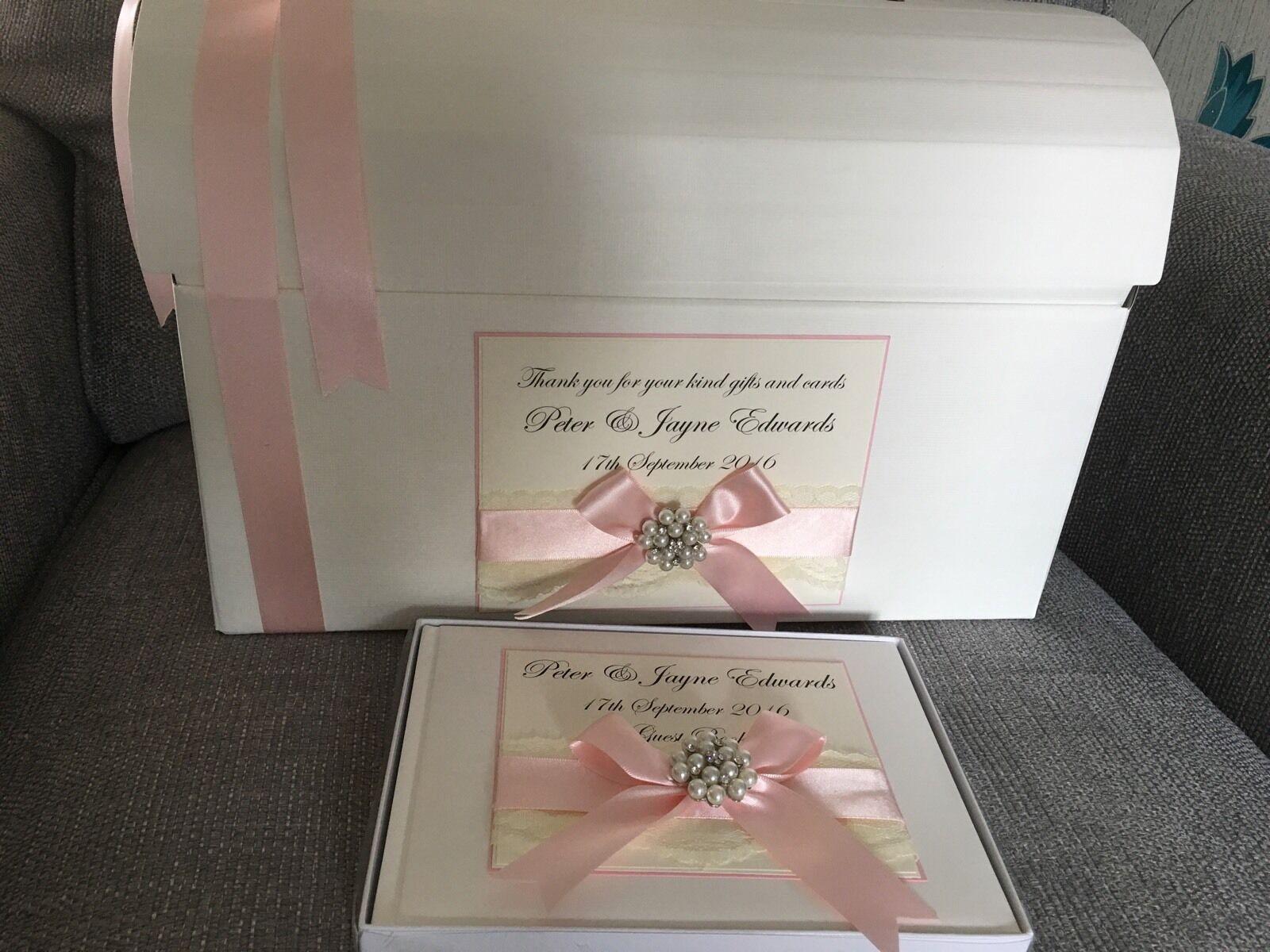 Ivoire/blanc poitrine personnalisé vintage wedding post box poitrine Ivoire/blanc et livre d'or ensemble cadeau 08a930