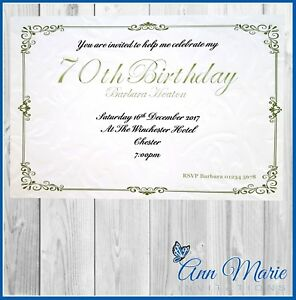 Image Is Loading 10 X 70th BIRTHDAY PARTY INVITATIONS CARD