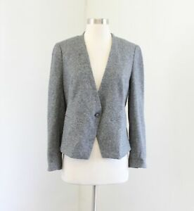 NWT-Ann-Taylor-Loft-Heather-Gray-Soft-One-Button-Blazer-Jacket-Size-8P