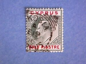 Cyprus-1904-KEVII-pi-Green-amp-Carmine-SG62-Wmk-Mult-Crown-CA-P14-Used