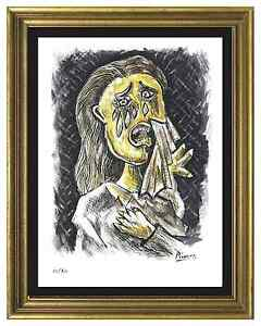 Pablo-Picasso-Signed-Hand-Numbered-Ltd-Ed-034-Weeping-Woman-034-Litho-Print-unframed