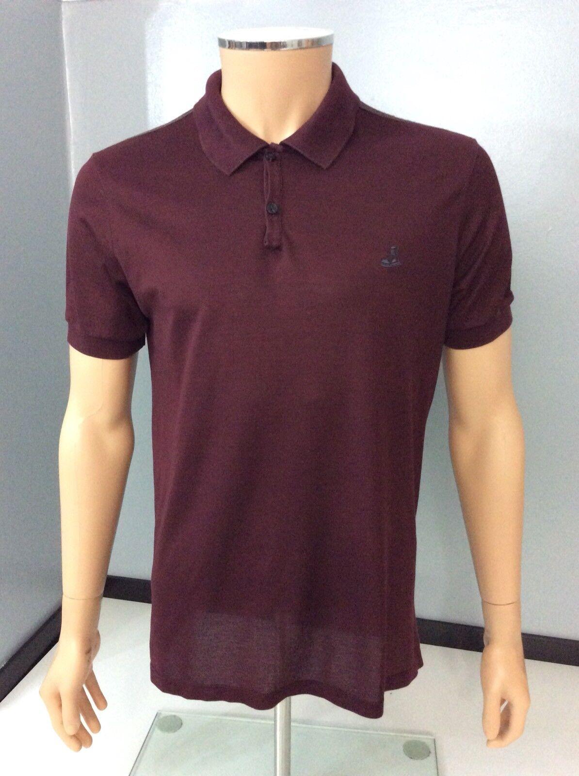 LANVIN Da Uomo Polo T Shirt, taglia Small, S, Marronee, Rosso, GC