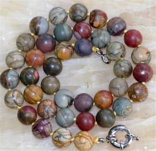 """Natural 10mm Multicolor Picasso Jasper Round Beads Necklace 18/""""AAA"""