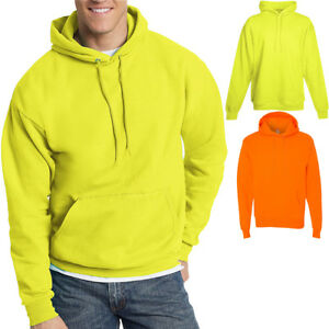 1 Safety Orange Hanes P170 Mens EcoSmart Hooded Sweatshirt XL 1 Light Blue