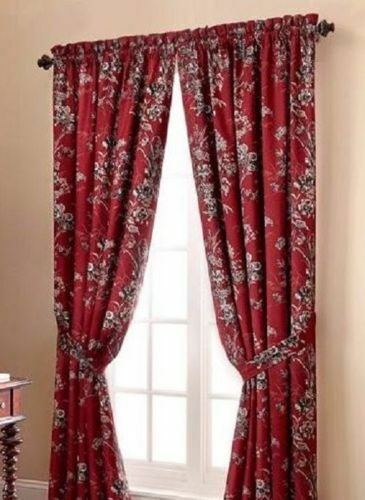 Rose Tree Window Panels Drapes Set Of 4 Durelme Lined Red Floral 50 84 Cotton