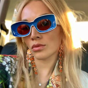 Retro Rectangle Sunglasses Women Ins Popular Fashion Concave Frame Shades Men