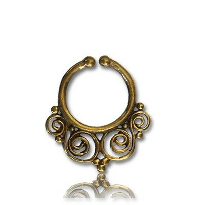 ORNATE FAKE 16G (1.2mm) AFGHAN STYLE BRASS HANGING SEPTUM 9MM RING CHEATER NOSE