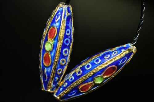 2Pcs Asian Flair~Vintage Chinese CLOISONNE Lapis Blue Six-Sided Rice Beads N0846