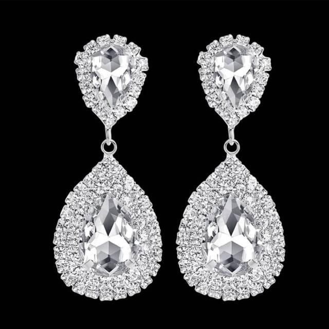 Fashion Women Crystal Tear Drop Earrings Sparking Long Earrings Wedding Jewelry