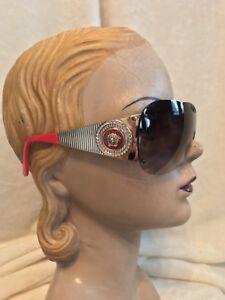 Versace Red RhinestoneEbay Sunglasses Model Gold 2135 BMedusa PZiukX