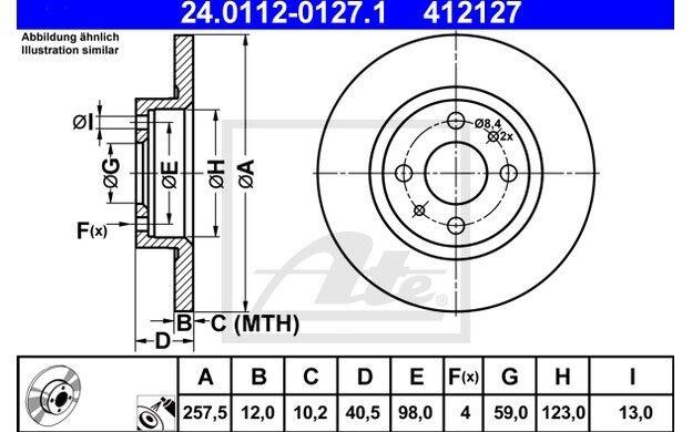 ATE Juego de 2 discos freno Antes 257mm para SEAT IBIZA CITROEN OPEL