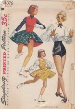 Vintage Tap Dance Trunks, Blouse and Skating Outfit Sewing Pattern S4076 Size 6