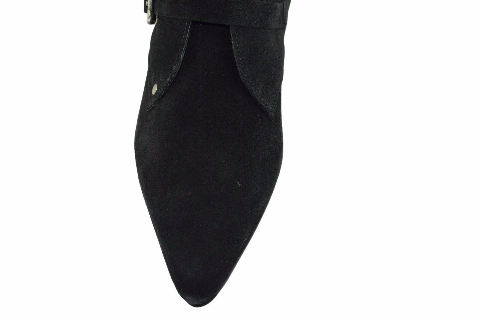 Steel Ground Goth schwarz Suede Winklepicker Calf Goth Ground Stiefel 6 Straps Skull Buckle 3306af