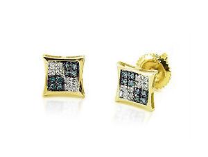 d1f05b902 10K Yellow Gold Blue & White Diamond Earrings Micro Pave Diamond ...