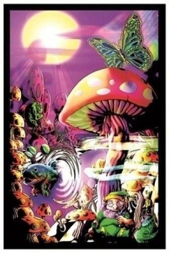 K444 Trippy Magic Mushrooms Face Fantasy Mind Landscape Poster Wall Silk