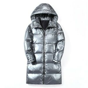 Men/'s Winter Warm Bubble Puffer Coat Hooded Thicken Shiny Down Jacket Loose Fit