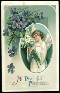 1913 A Peaceful Easter post card with additional layer cut out attached antique Easter Postcard flowers and bells addressed but unmailed