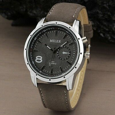 Casual Military Sport Gray Men's Simple Leather band Analog Quartz Wrist watch