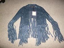 BNWT KATE MOSS BLUE FRINGED LEATHER JACKET, UK6, TOPSHOP, US2.