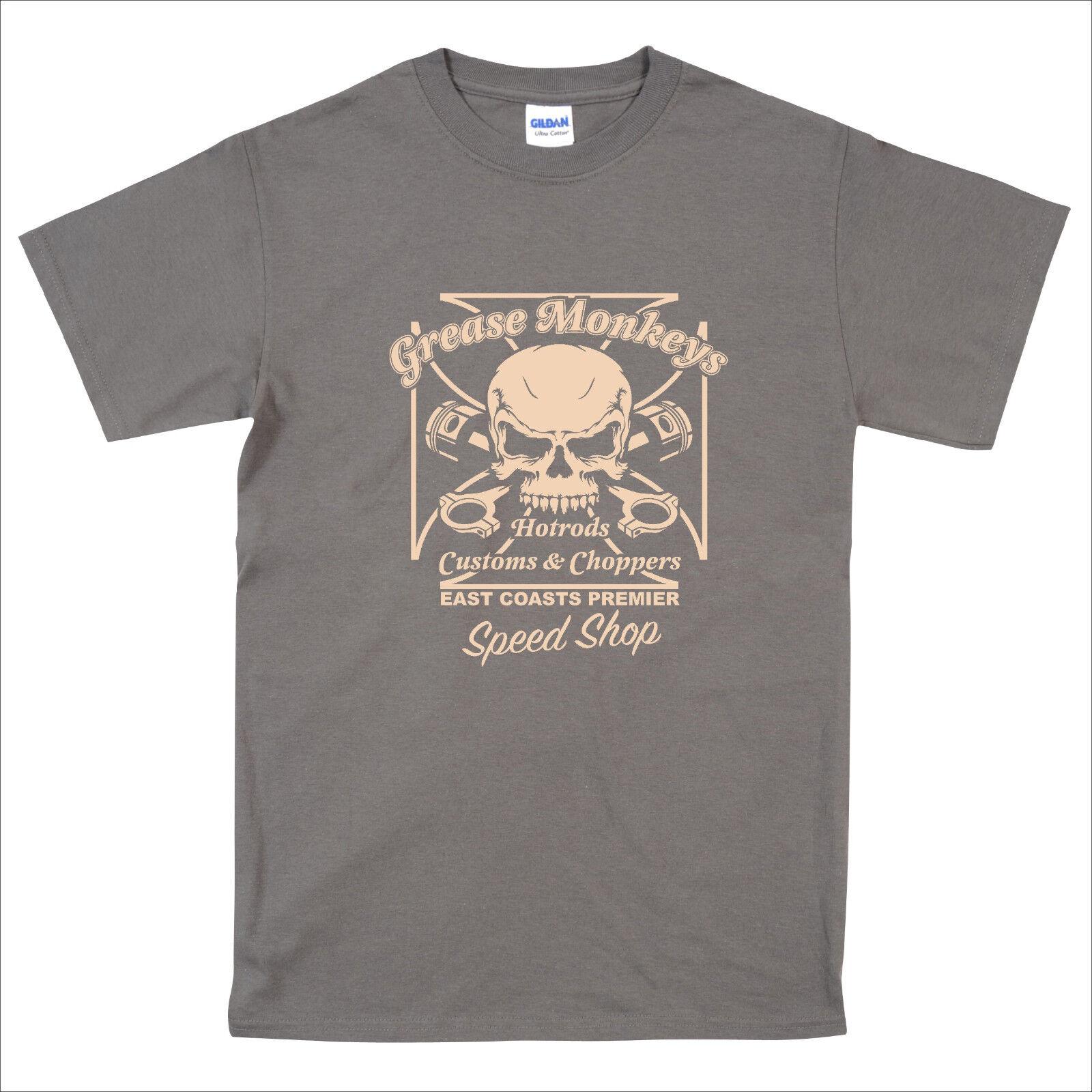 Motard Chopper Bobber Classic car HOT ROD MONKEY GREASE MONKEY ROD Speed Shop T Shirt S-5XL 7bebee