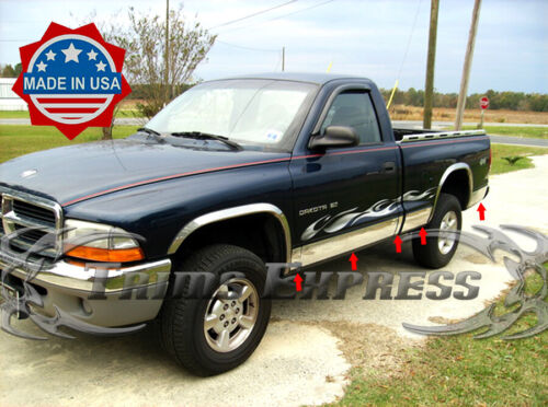 "fit:1997-2004 Dodge Dakota Regular Cab Short Bed Rocker Panel Trim W//F 7/"" 10Pc"