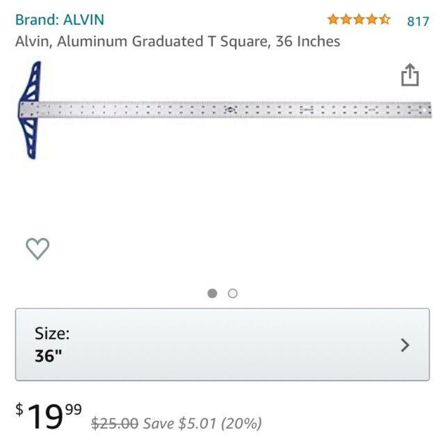 ALT12 12 Alvin Aluminum Graduated T-Square