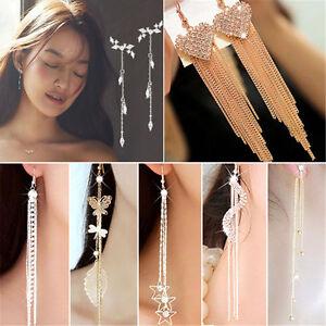 Fashion-Long-Korean-Style-Tassel-Leaves-Crystal-Rhinestone-Stud-Earrings