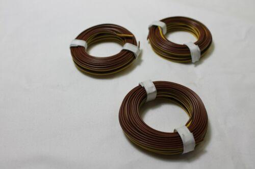 1m=0,40€ Modellbahnlitze 2-adrig 0,14; 3 x 5m Ring; gelb//braun; neu