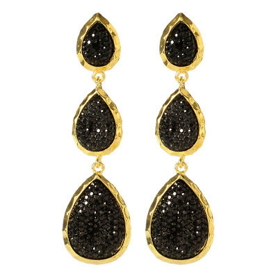Amrita Singh Gold Black Hampton Star Crystal Tear Drop Earrings ERC 98 NWT