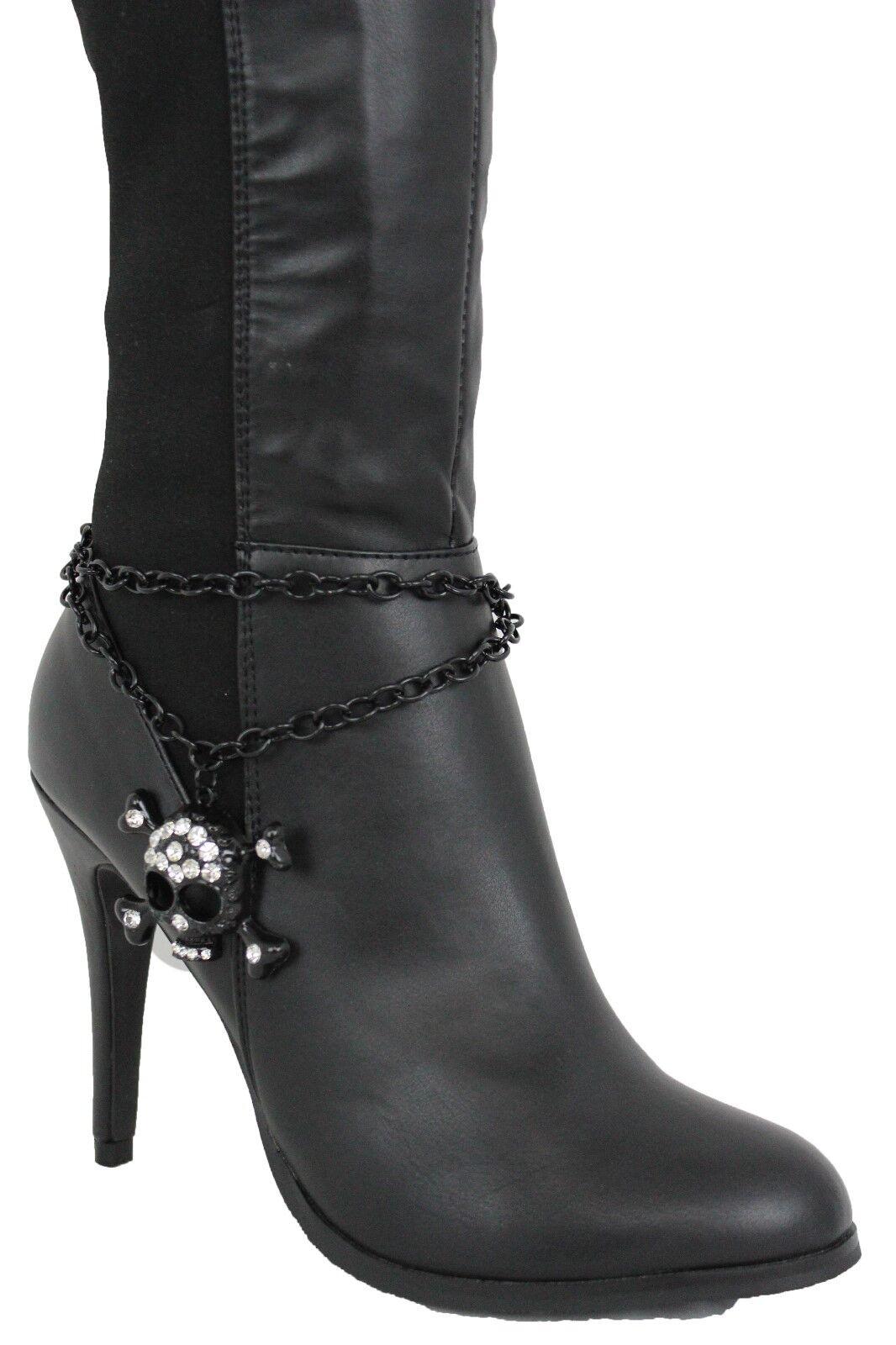 Women Boot Bracelet Black Metal Chain Anklet Shoe Bling Skull Skeleton Big Charm
