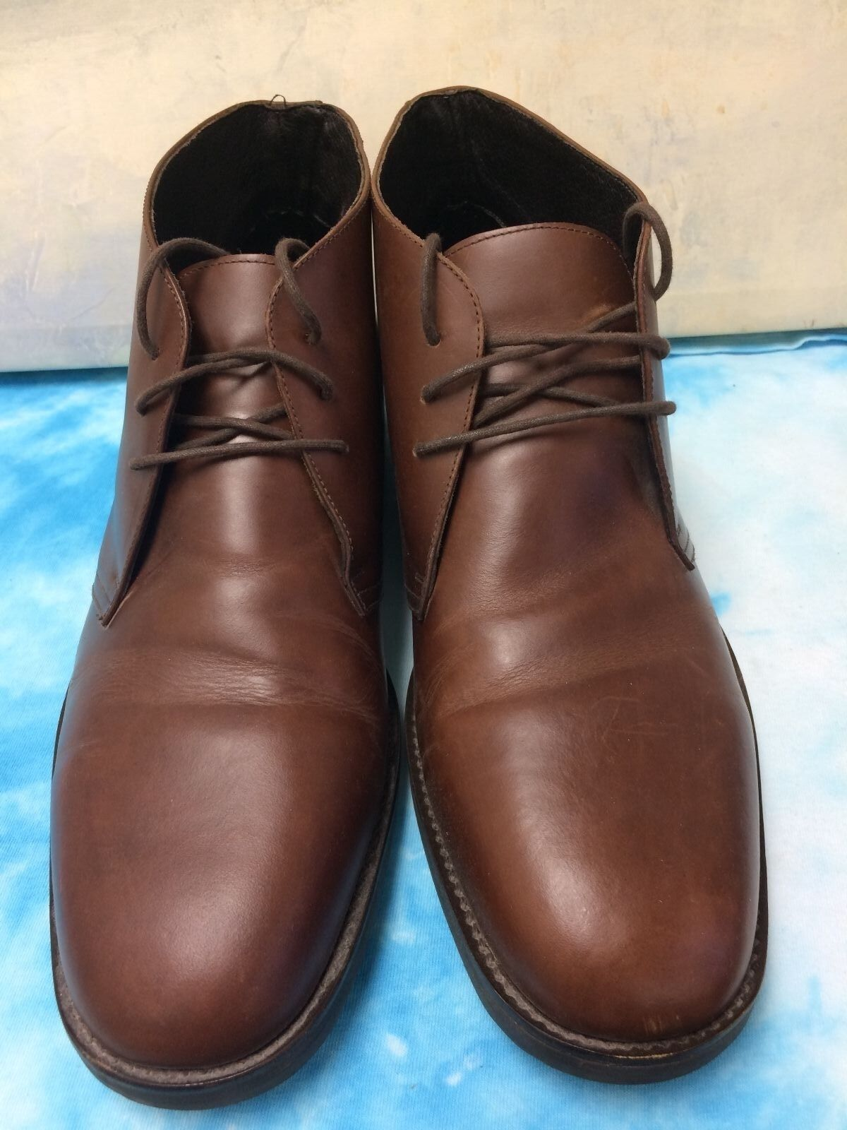 BROWN LEATHER LANDS' END LACE UP ANKLE BOOTS 13 M
